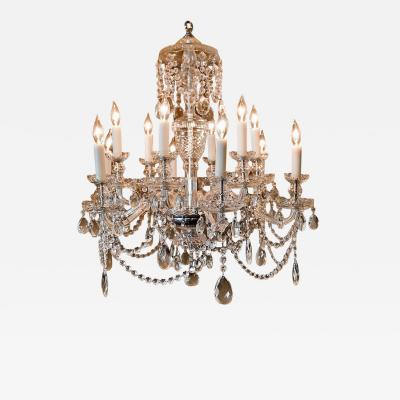 12 Light Georgian Crystal Chandelier Bohemia circa 1950