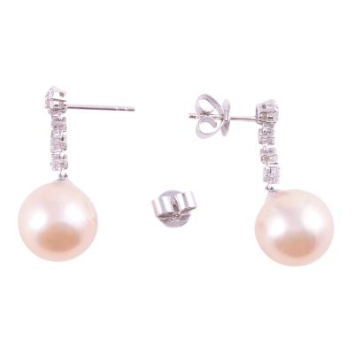 12mm Pearl Diamond Drop Earrings