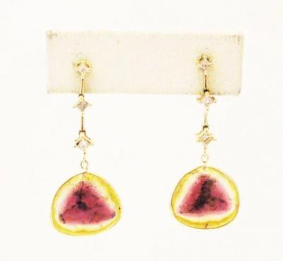 13CT Natural Rosecut Watermelon Tourmaline Slice w Diamonds Earrings 14KT Gold
