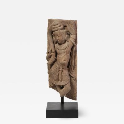 13th Century Indian Sandstone Stele Figure Dancing Goddess Antiquity Fragment