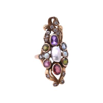 14 Karat American Art Nouveau Ring with Diamonds and Semi Precious Stones