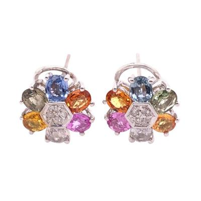 14 Karat Gold Pierced Earrings Multicolored Diamond and Semi Precious Stones
