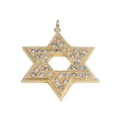 14 Karat Gold Star of David and Diamond 2 86 Carat Pendant