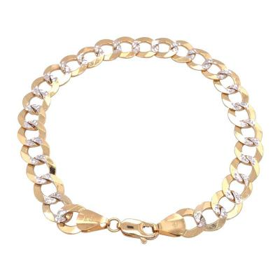 14 Karat Two Tone White and Yellow Gold Fancy Link Bracelet