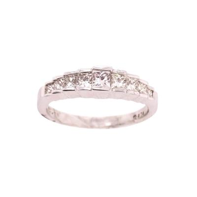 14 Karat White Gold Anniversary Ring with Diamonds 0 77 Total Diamond Weight