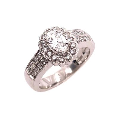 14 Karat White Gold Contemporary Ring with Diamonds Engagement 1 00 TDW