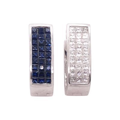 14 Karat White Gold Diamond And Sapphire Reversible Hoop Earrings