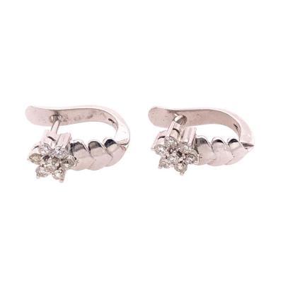 14 Karat White Gold Diamond Latch Back Free Form Earrings