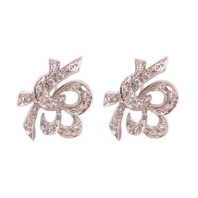 14 Karat White Gold Diamond Post Earrings Art Deco Style Screw Back