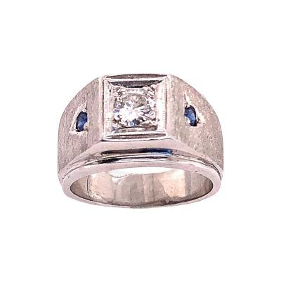 14 Karat White Gold Diamond Solitaire Band with Sapphire Accents