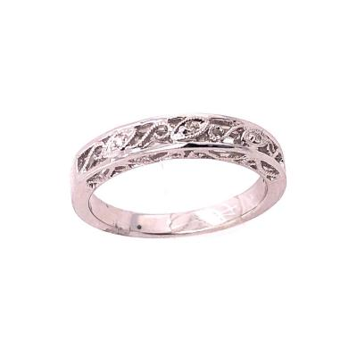 14 Karat White Gold Diamond Wedding Band Anniversary Filigree Ring