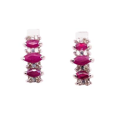 14 Karat White Gold Drop Earrings Freeform Ruby with Diamond Accents