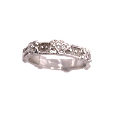 14 Karat White Gold Fashion Diamond Accent Band Ring 0 25 Total Diamond Weight
