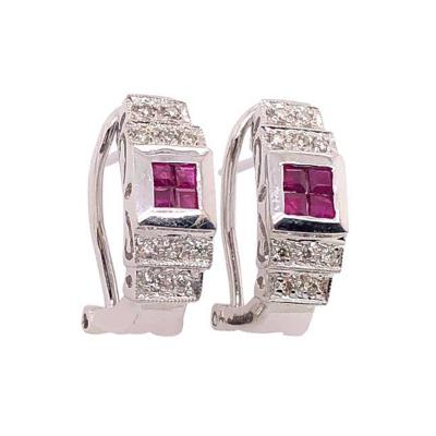 14 Karat White Gold French Back Half Hoop Ruby and Diamond Earrings