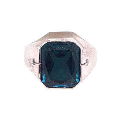 14 Karat White Gold Handmade Blue Sapphire Solitaire with Diamond Accents Ring