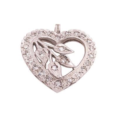 14 Karat White Gold Heart Pendant with Diamonds