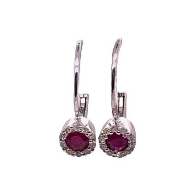14 Karat White Gold Latch Back Ruby Drop Earrings with Diamond Accents