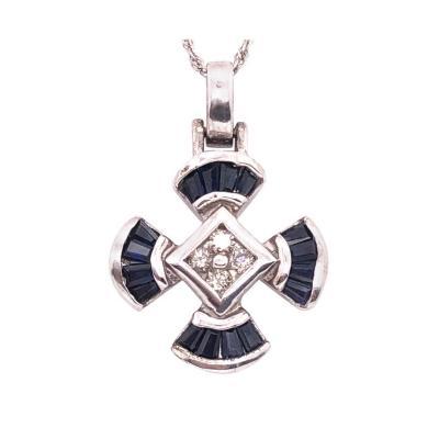 14 Karat White Gold Sapphire and Diamond Pendant Necklace