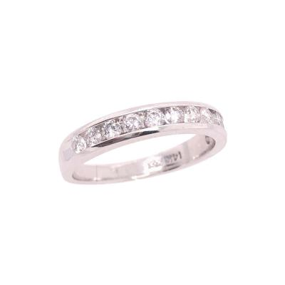 14 Karat White Gold and Diamond Band Bridal Wedding Ring