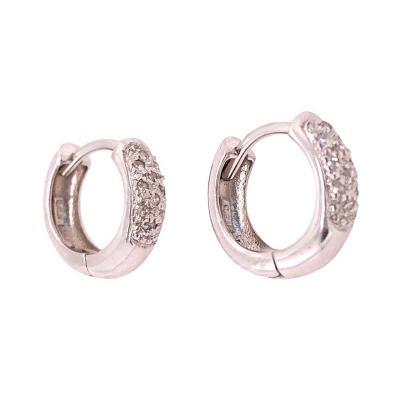 14 Karat White Gold and Diamond Hoop Earrings 0 20 Total Diamond Weight