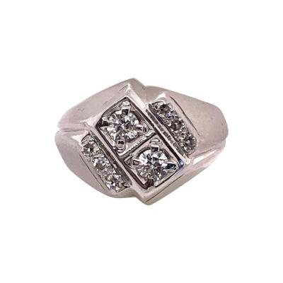 14 Karat White Gold and Diamond Mens Ring