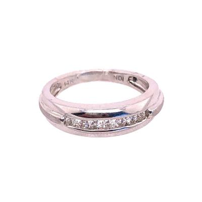 14 Karat White Gold and Diamond Wedding Band 0 21 Total Diamond Weight