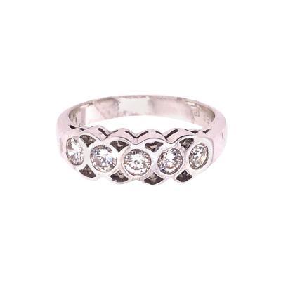14 Karat White Gold and Diamond Wedding Band Bridal Ring 0 50 TDW
