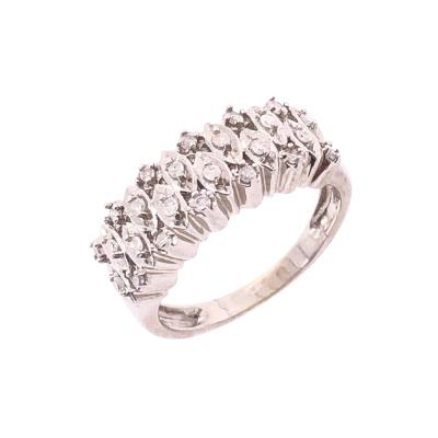 14 Karat White Gold and Diamond Wedding Band Bridal Ring