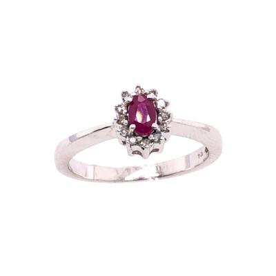 14 Karat White Gold and Ruby Ring Surrounded by Diamonds