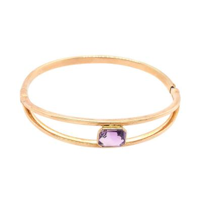 14 Karat Yellow Gold 7 8 Fancy Link Bangle with Square Amethyst Solitaire