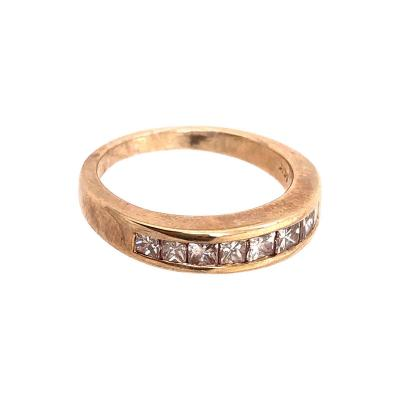 14 Karat Yellow Gold Band with Nine Diamonds Wedding Anniversary 1 00 TDW