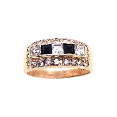 14 Karat Yellow Gold Black Onyx and Diamond Band Ring Wedding Bridal
