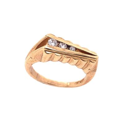 14 Karat Yellow Gold Contemporary Ring with Round Diamonds 0 20 TDW