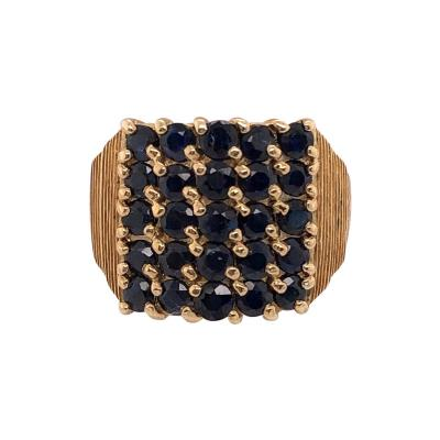 14 Karat Yellow Gold Contemporary Ring with Sapphire Cluster