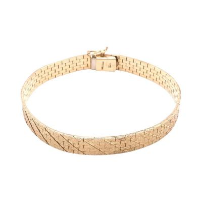 14 Karat Yellow Gold Fancy Link Flat Bracelet
