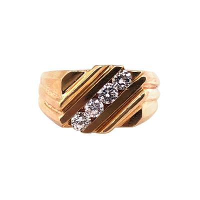 14 Karat Yellow Gold Free Form Ring with Four Diamonds 0 60 Total Diamond Weight