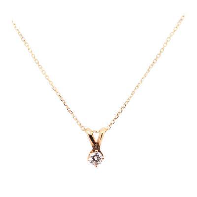 14 Karat Yellow Gold Necklace with Round Diamond Pendant