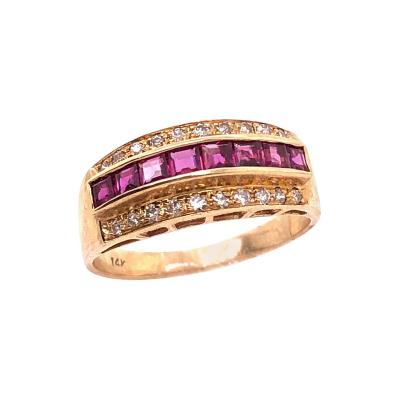14 Karat Yellow Gold Ruby and Diamond Band Wedding Anniversary Ring