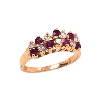 14 Karat Yellow Gold Ruby and Diamond Fashion Ring
