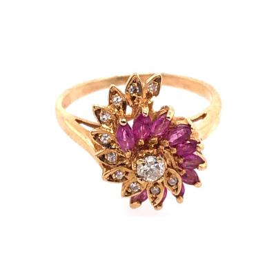 14 Karat Yellow Gold Ruby and Diamond Swirl Ring