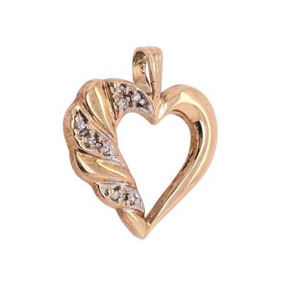 14 Karat Yellow Gold and Diamond Heart Pendant Charm