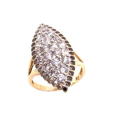 14 Karat Yellow Gold and Fashion Cubic Zircon Ring