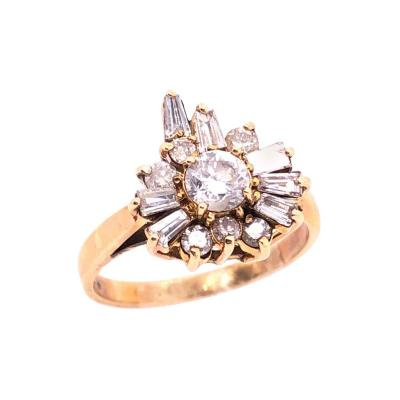 14 Karat Yellow Gold with Diamond Cluster Cocktail Ring