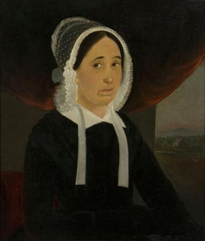 William Matthew Prior Rare Full Canvas Portrait of a Woman Mary Lewis Signed East Boston 1848