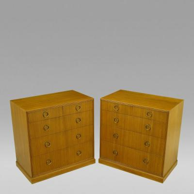 Edward Wormley Pair 1940s Edward Wormley For Dunbar Ribbon Mahogany Chests