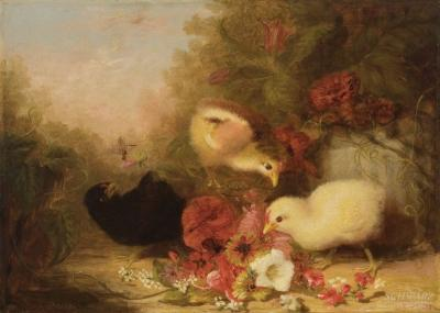 Mary Russell Smith Three Chicks With Flowers
