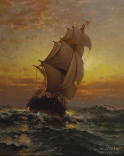 Edward Moran Sailing Ship on the Open Sea
