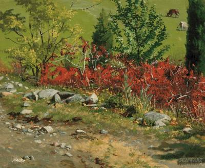 Frank Waller Red Foliage with Cows Grazing in Background Morristown