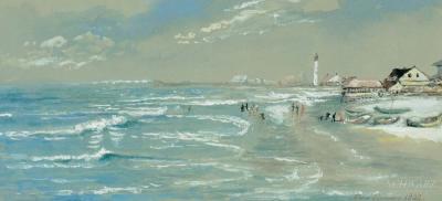 Edmund Darch Lewis Jersey Coast Beach Scene