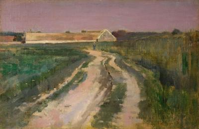 Theodore Robinson Farmer on a Country Road